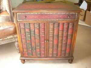 Theodore Alexander Gilt Tooled Woven Leather Faux Book Mahogany Bookcase