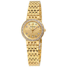 Bulova Gold Sunray Dial Diamond Ladies Watch 98R212