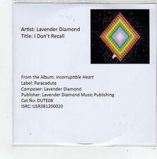 (FL860) Lavender Diamond, I Don't Recall - 2013 DJ CD