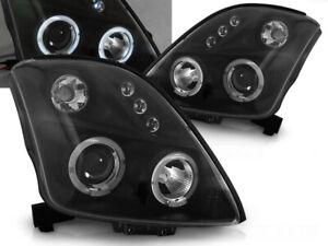 Headlights for Suzuki Swift 2005-2007 2008 2009 2010 VR-1552 Angel Eyes Black
