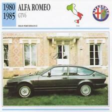 1980-1985 ALFA ROMEO GTV6 Classic Car Photo/Info Maxi Card