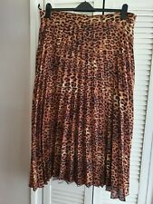 Dorothy Perkins Leopard Print Pleated Midi Skirt Tall Range Size 20