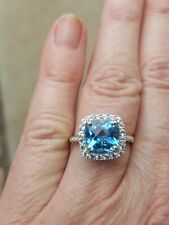 Blue Topaz Cushion Cut White Sapphires And Diamond Ring 10kt Solid Yellow Gold