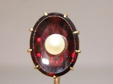 ANTIQUE 14K SOLID GOLD CORONET SETTING APPROX. 2.5 CTW GARNET & PEARL STICK PIN!