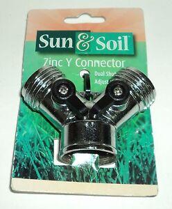 Sun & Soil ZINC Y CONNECTOR Dual Shut Off Valve Adjustable Flow New & Carded
