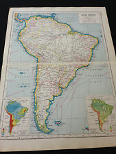 "Harmsworth New Atlas Of The World ""South America"""