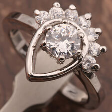 Filled~Cubic Zirconia Ring~Size 6 Right Hand~18k White Gold