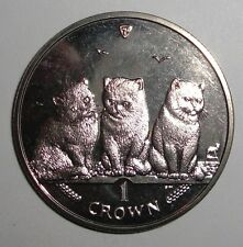 2006 Isle of Man 1 crown, Exotic Shorthair Kittens, Cat, wildlife coin