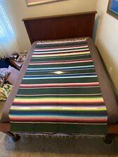 Vintage SOUTHWEST Mexican SALTILLO BLANKET Stripes Fringe Mission Great Colors