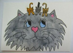 ACEO Original Watercolor Cat Kittens Happy Mothers Meow-thers Day No 321 by KEK