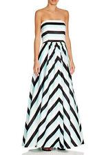 AQUA ~ White Black Aqua Striped Sateen Strapless Formal Gown 0 NEW $248