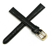 """Lucien Piccard 12MM Genuine Lizard Watch Strap Band 7"""" BLACK with Gold Buckle"""