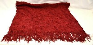 Chenille Burgundy Bumpy Knotted Weave Fringed Throw Blanket 32 x 45 + 6 Fringe