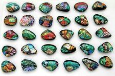 MULTI COLORS lot 30 pcs DICHROIC FUSED GLASS pendant (N22) CABOCHON MOSAIC TILE