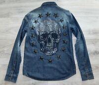 PHILIPP PLEIN HEMD L shirt pp denim shirt blue jeanshemd stones skull and stars