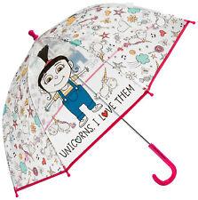 NUEVO niña / Niños Rosa / multi Despicable Me Inés burbuja Paraguas GB talla 1