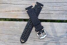 20mm Genuine Leather Watch Band Strap Handmade Black fits ALL BRANDS Rolex Tudor
