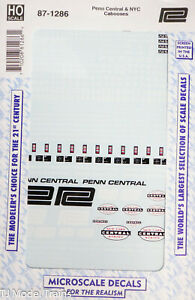 Microscale Decal HO #87-1286 Penn Central & NYC Cabooses (Decal Sheet)
