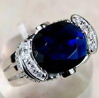 Flawless 6CT Blue Sapphire & Topaz 925 Sterling Silver Ring Jewelry Sz 8 PR9
