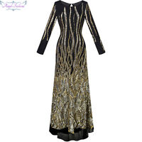 Angel-fashions Long Sleeves Sequin Transparent Column Maxi Evening Dress 288