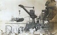 ORIGINAL- WW1 U.S. NAVY BATTLESHIP USS SOUTH CAROLINA DECK PHOTO POSTCARD RPPC