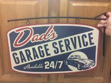 DADS GARAGE SERVICE 24/7 Flange Motor Vintage Look Metal Kids Decor Gas Oil Tire