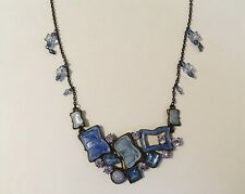 Statement Necklace Choker Blue Enamel Beads Clear Rhinestone Brass Chain Vintage