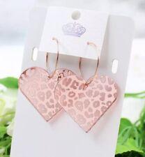 Rose Gold Pink Mirror Animal Leopard Print Heart Hoop Fashion Earrings