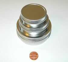 1, 2, & 4 oz Round Shallow Survival Tin Containers With Screw Top Lids Craft Use