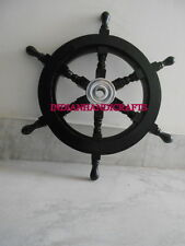 Nautical Beach Wooden Boat Ship Steering Wheel Home Wall Decor_Aluminum centre