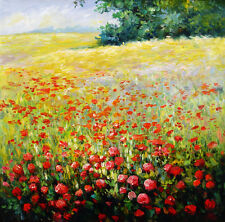 """Floral & Gardens Oil Painting - Field of Poppies flowers - size 36""""x36"""""""