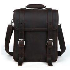 """Men Leather Large 14"""" Laptop Shoulder Bag Travel Hiking Camping Sports Backpack"""