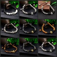 Men's Helmet Braided Bracelet 8mm Natural Stone Lava Rock Adjustable Bracelets