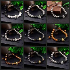 Men's Helmet Braided Bracelets 8mm Natural Stone Lava Rock Adjustable Bracelets