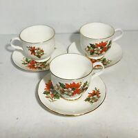 Sadler Wellington Poinsettia Fine Bone China cup and saucer Three sets
