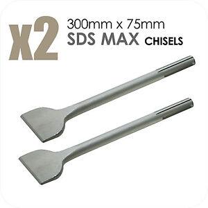 2X SDS MAX Chisels 300mm x 75mm Spade Bit Breaker Drill Long DIY