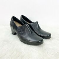 Clarks Artisan 7 M Womens Black Leather Rouched Heels