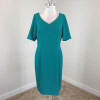 New Tahari M 10 Emerald green Sheath dress Career Cocktail Exposed Zipper