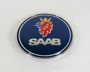 SAAB 93 95 HOOD EMBLEM BLUE/CHROME FRONT ROUND BADGE 97x sign symbol logo