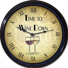 Wine Lovers Wall Clock Time to Wine Down Red White Wine Glass Liquor 10""