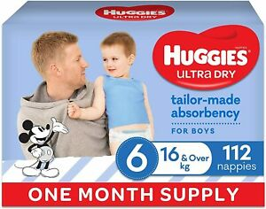 HUGGIES Ultra-Dry Nappies, Boys, Size 6 (16kg+), One-Month Supply, Size 6, 112