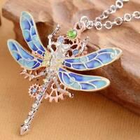 Fashion Steampunk dragonfly Rhinestone Necklace Pendant Chain Women Jewelry
