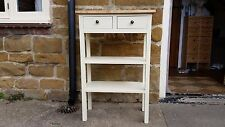 H90 W60 D30cm BESPOKE CREAM OAK WAX TOP CONSOLE HALL TABLE 2 DRAWERS 2 SHELF