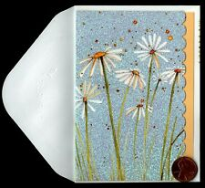 Papyrus Beautiful Daisies Flowers *Glittered* Small Blank Note Greeting Card New