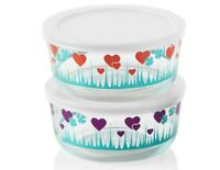 Pyrex 7-Cup Red LUCKY in LOVE or Purple MIDNIGHT GARDEN Bowl Hearts & Shamrocks