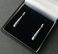 STERLING SILVER TURQUOISE EARRINGS SOLID 925