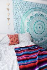 Hippie Green Star Ombre Mandala Wall Hanging Cotton Tapestry Dorm Decor Throw