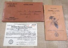1936-37 Wisconsin Resident Rod & Reel Fishing License Law Booklet & Envelope >
