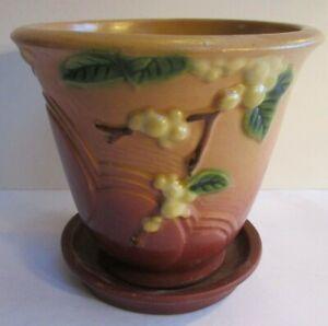 Roseville Snowberry IP5-5 Flower Pot and Saucer