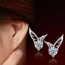 Paar Ohrstecker Ohrringe Engelsflügel Zirkonia 925 Sterling Silber Weiß Damen